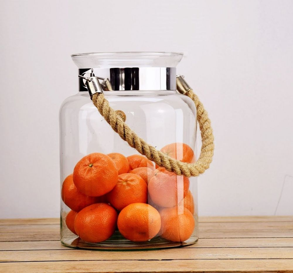 Glass Jar & Rope  | Solavia Fine Glassware